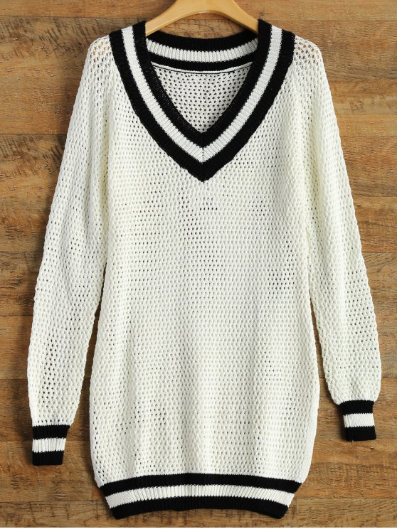 chic V Neck Furcal Sweater - WHITE L