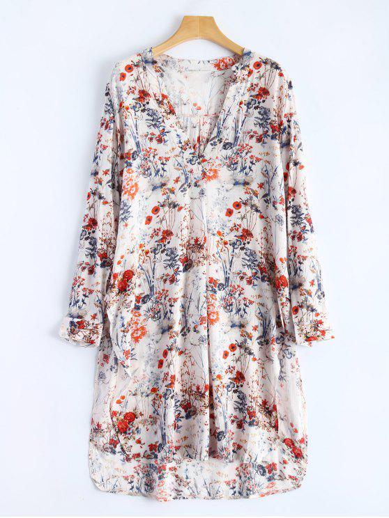 Col en V Floral Haut Slit shirt - Floral L