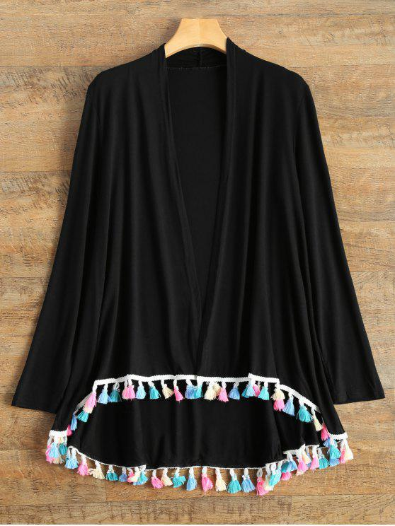 women's Colorful Fringes Cardigan - BLACK L