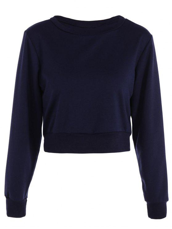 women Casual Sports Cropped Sweatshirt - PURPLISH BLUE XL