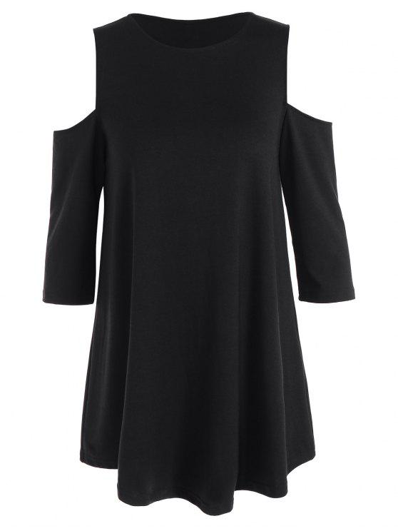 trendy Loose Cold Shoulder T-Shirt - BLACK XS
