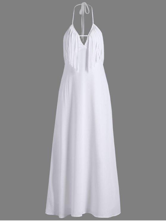 fashion Backless Halter Maxi Evening Dress With Fringe - WHITE M