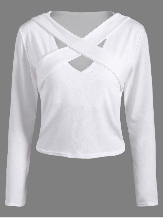 new Criss-Cross Cropped T-Shirt - WHITE S
