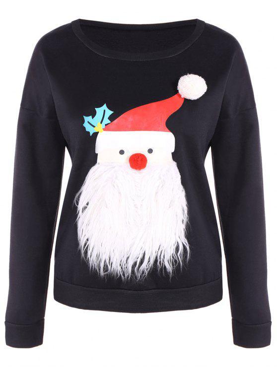 Forro polar con capucha de Navidad - Negro S