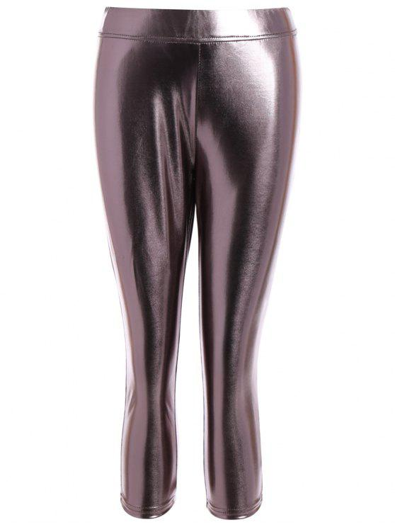 Metallizzato Colore Leggings - Colore Metallico L