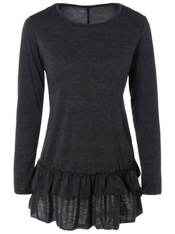 Volantes de manga larga camiseta - Gris Oscuro S