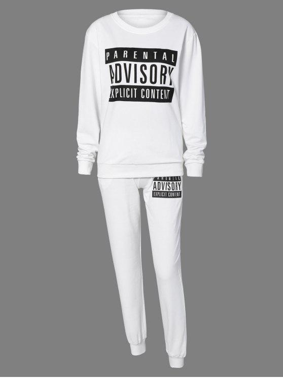 Lettre Sweatshirt et Drawstring sport Pantalons - Blanc S