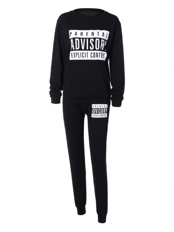 hot Letter Sweatshirt and Drawstring Sports Pants - BLACK L