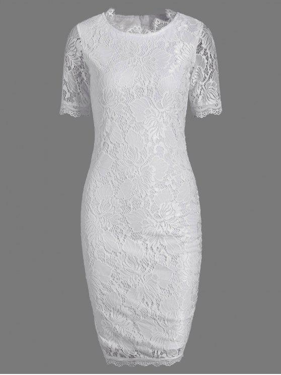 hot Lace Short Sleeve Long Sheath Tight Dress - WHITE M