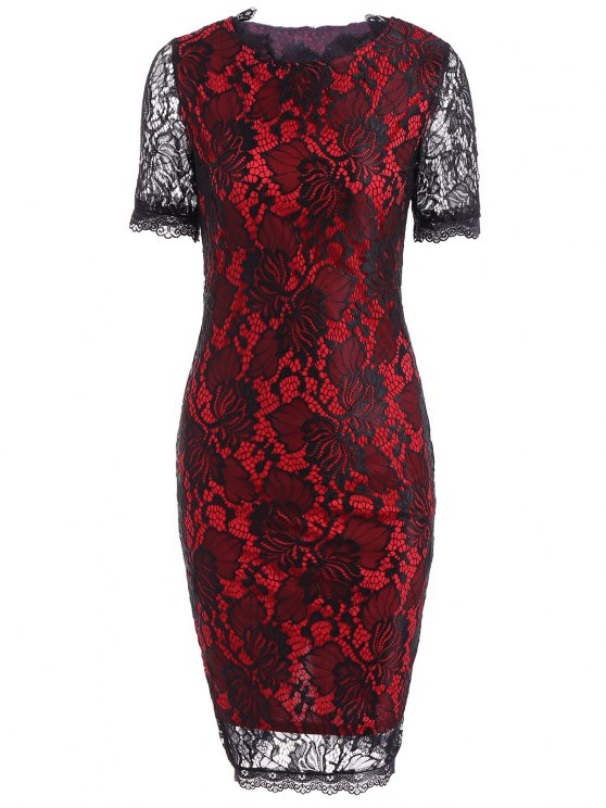 outfits Openwork Lace Pencil Sheath Dress - RED 2XL