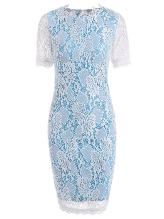 fashion Openwork Lace Pencil Sheath Dress - BLUE 2XL