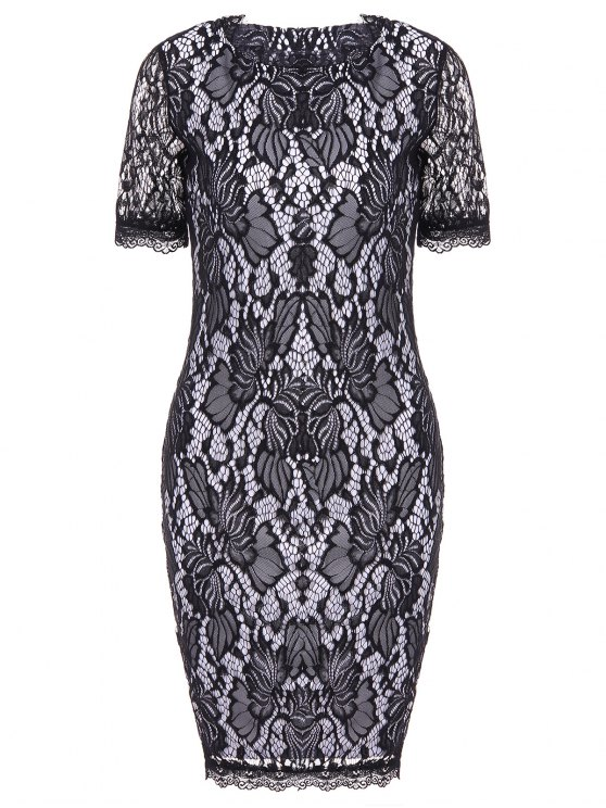 buy Lace Hook Patch Pencil Dress with Sleeves - BLACK XL