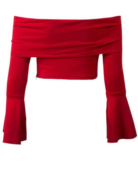 fancy Bell Sleeve Overlay Crop Top - RED L