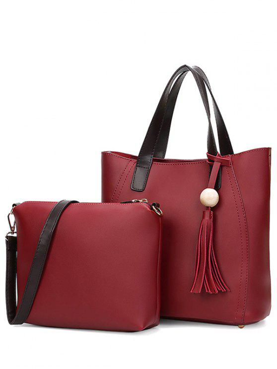 Couleur Spliced ​​Stitching Glands Sac fourre-tout - Rouge vineux