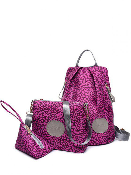 unique Print Zippers Color Spliced Backpack - VIOLET ROSE