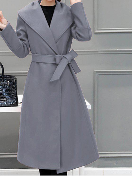 sale Wool Blend Maxi Long Wrap Shawl Collar Belted Coat - GRAY 2XL