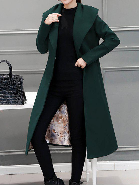 best Wool Blend Maxi Long Wrap Shawl Collar Belted Coat - BLACKISH GREEN M