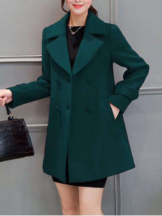 affordable Lapel Collar Swing Peacoat - BLACKISH GREEN S