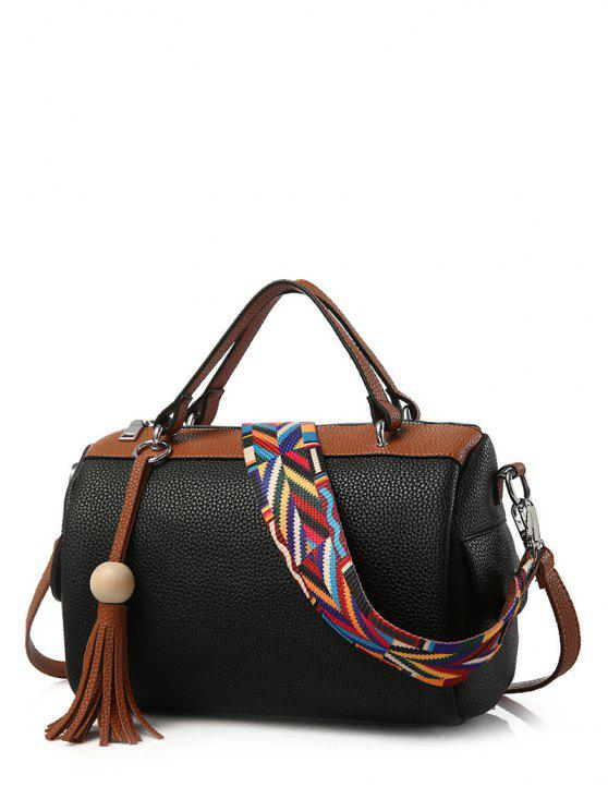 Glands Couleur Spliced ​​texturé LeatherTote Sac - Noir