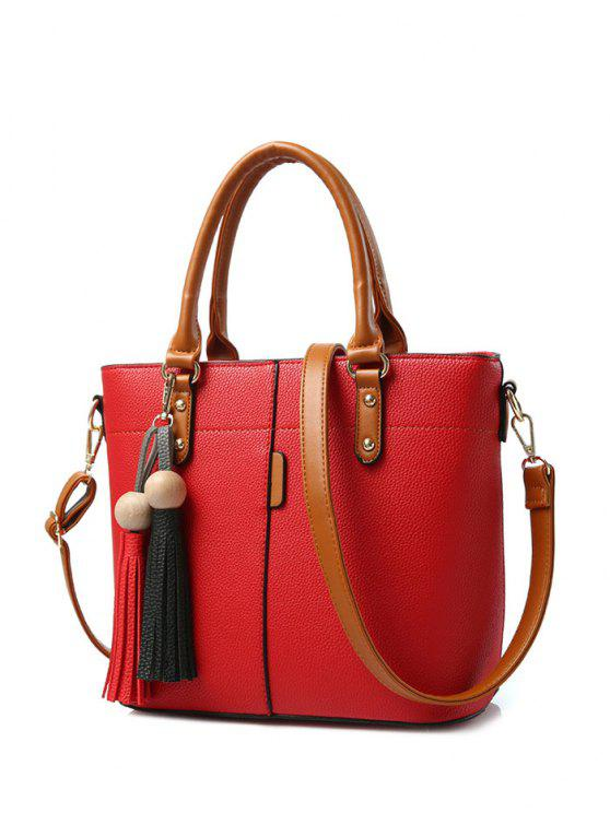 trendy Tassels Colour Spliced Metal Tote Bag - RED
