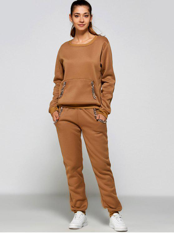 best Chain Embellished Sweatshirt + Pants - KHAKI XL