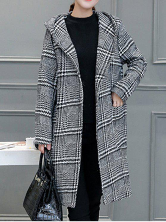 outfit Houndstooth Hooded Wool Blend Coat - GRAY S