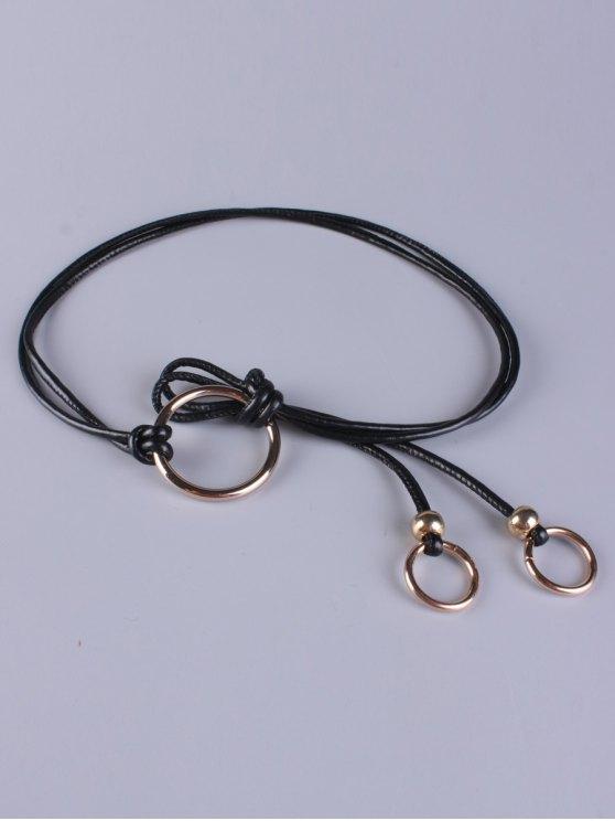 Verstellbarer Gürtel aus PU-Leder mit Ring - Schwarz