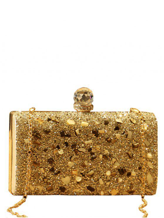 shops Rhinestones Metal Sequins Evening Bag - GOLDEN