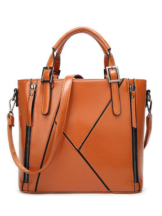 latest Buckles PU Leather Zippers Tote Bag - BROWN