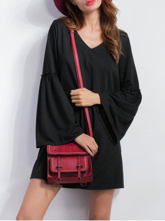 womens V Neck Bell Sleeve Shift Mini Dress - BLACK M