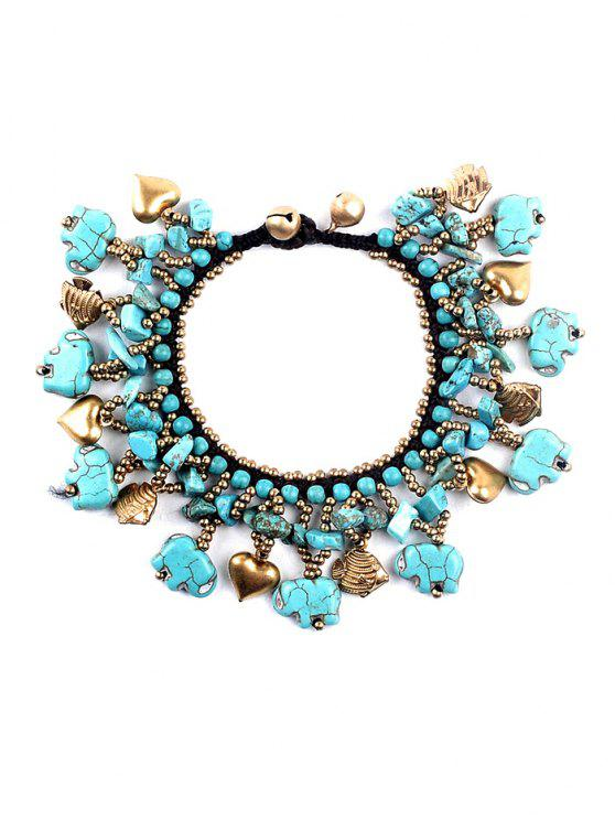 shops Heart Fish Beads Faux Turquoise Bracelet - TURQUOISE