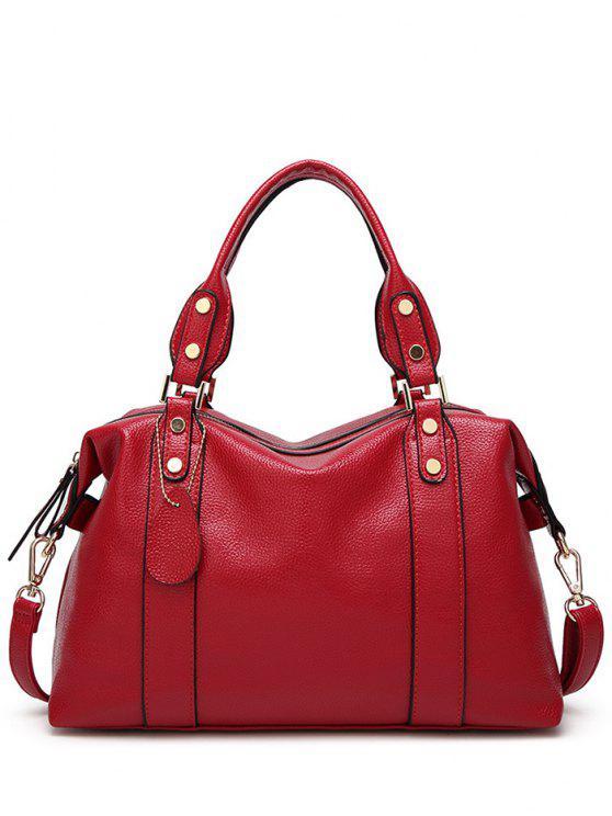 Strukturiertem Leder mit Reißverschluss Metall-Einkaufstasche - Rot