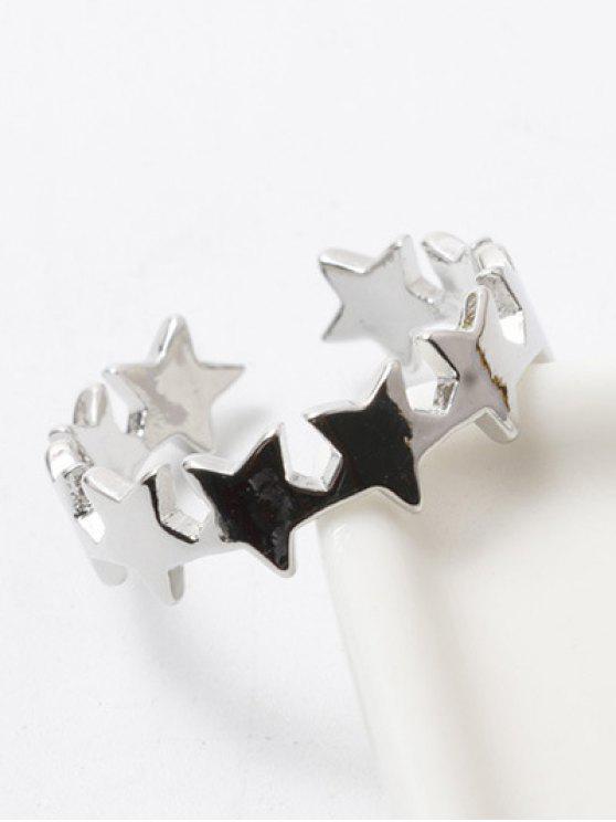 Anneau de doigt poli en forme d'étoiles - Blanc Argent