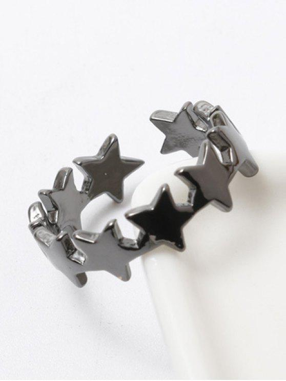 shop Polished Star Cuff Ring - GUN METAL