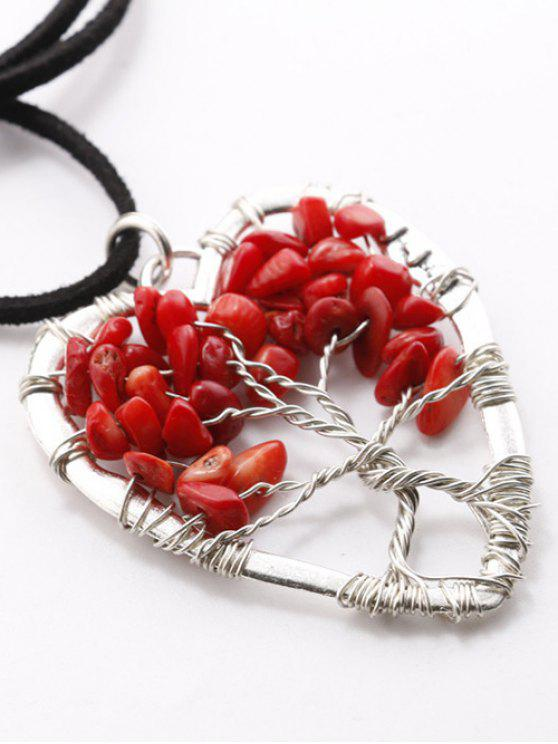 lady Handcraft Heart Necklace - RED