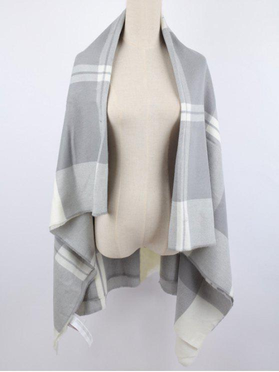 fancy Warm Plaid Shawl Scarf - LIGHT GRAY
