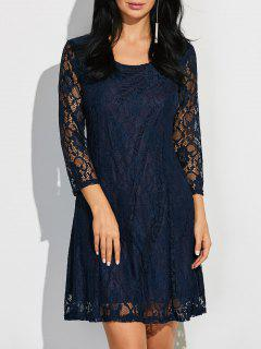 Short Lace Dress With Sleeves - Purplish Blue S