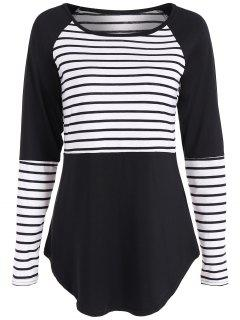 Stripe Panel Raglan Sleeve T Shirt - Black L