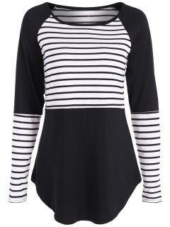Stripe Panel Raglan Sleeve T Shirt - Black M