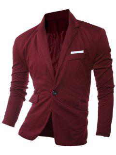 Lapel Edging One Button Long Sleeve Blazer - Wine Red L