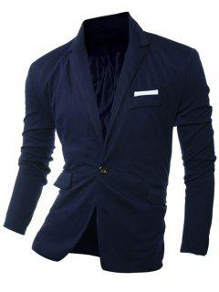 Lapel Edging One Button Long Sleeve Blazer - Cadetblue M