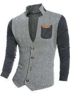 Contrast Insert Stand Collar Herringbone Coat - Deep Gray L