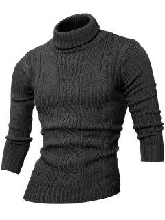 Long Sleeve Rib-Hem Turtleneck Cable-Knit Sweater - Deep Gray M
