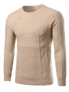Heathered Geometric Pattern Raglan Sleeve Sweater - Beige 2xl