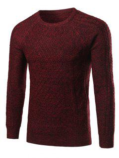 Heathered Geometric Pattern Raglan Sleeve Sweater - Wine Red M
