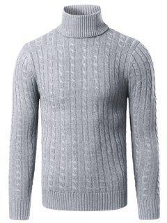 Rib-Hem Turtleneck Twist Striped Sweater - Light Gray M