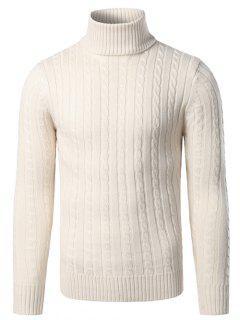 Rib-Hem Turtleneck Twist Striped Sweater - Off-white S