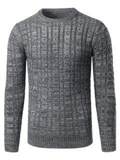 Space Dye Crew Neck Twist Striped Sweater - Gray 4xl