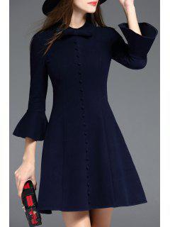 Bow Collar Bell Bottom Sleeve Dress - Purplish Blue S