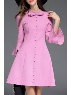 Bow Collar Bell Bottom Sleeve Dress - Light Purple S